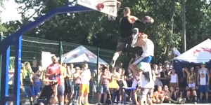 5'9″ Baller Kroha Dunks Over 2-Person Piggyback Tower For EPIC 'Triple Up' Slam