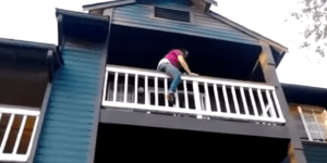 Let's Watch This Girl Plummet 3 Stories As She Attempts To Climb Down A Balcony