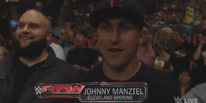 Johnny Manziel Is Ringside At WWE Raw And Seth Rollins Just Referred To Him As 'Johnny Idiot Face'