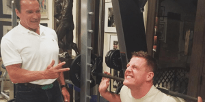 Arnold Schwarzenegger Challenged His New BFF J.J. Watt To Do 50 Squats In Tight Jeans After Dinner Date