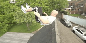 Watch This Lunatic Jump Over A House Using Only A Kid's Swing Set