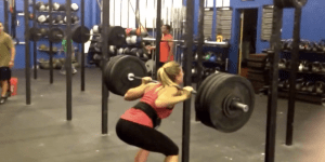 Hot Crossfit Chick Gets Her Ponytail Stuck On The Bar While Doing Squats