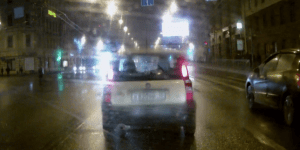 Car SMASHES Into Truck In The Middle Of A Rainy Night, Truck Does Not Care One Bit And Takes It Like A Champ