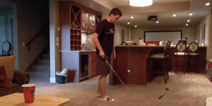 This Is An Absolutely Ridiculous Golf Beer Pong Trick Shot