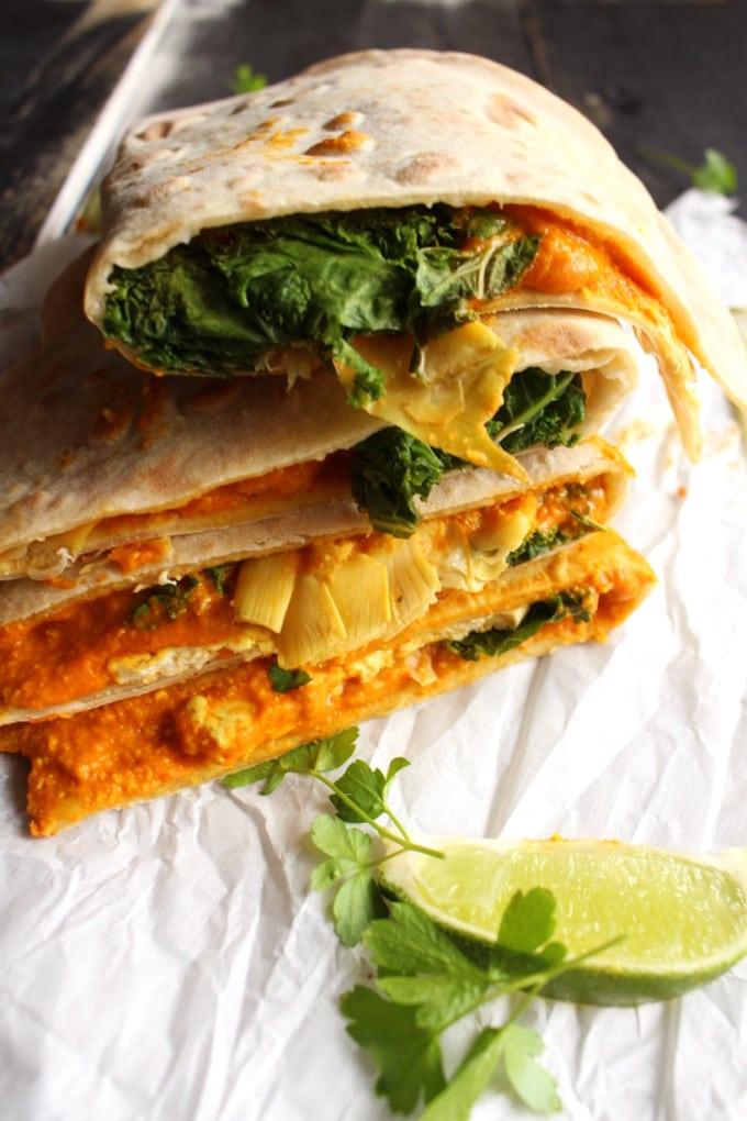 Artichoke and Kale Quesadillas (Vegan) | Vegan and super delicious Quesadilla Recipe. The Perfect Plant Strong Dish for parties