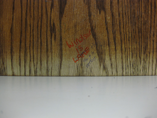 Windsor is Lame, Then Go to Detroit - text found on desk in leddy library