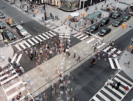 Pedestrian scramble time-lapse by Sam Javanrouh, from Spacing Magazine