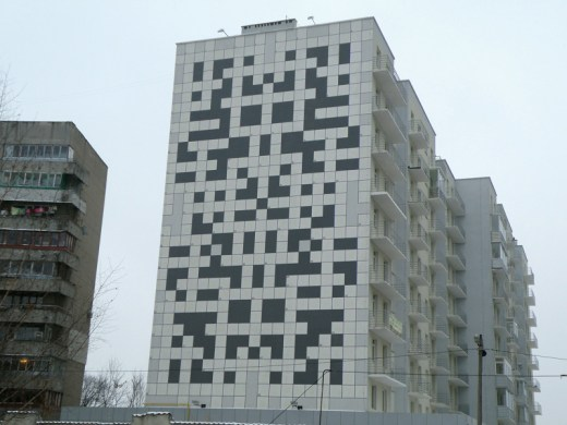 Crossword Puzzle installed on the side of a building in Ukraine