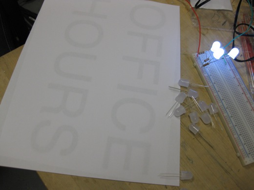 then we started thinking about our first sign, we wanted to test to see how many LEDs might fit on the board