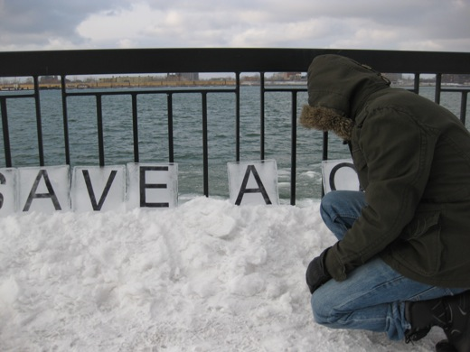 we packed the letters in with a bit of snow