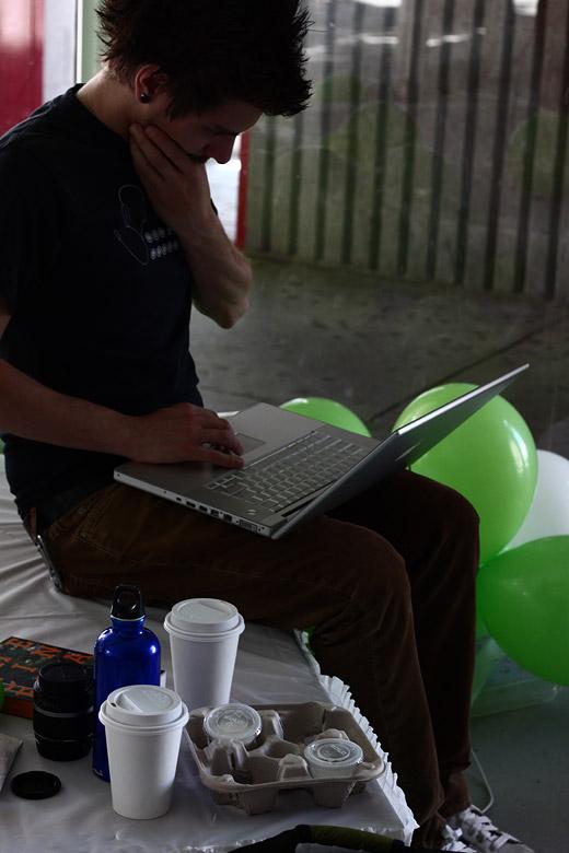 Justin at the computer