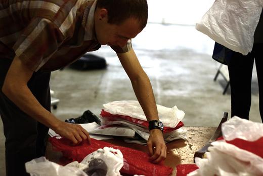 Josh prepares the bags