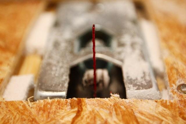 Jigsaw rig into half ban saw with nail polish as visibility improver (2)