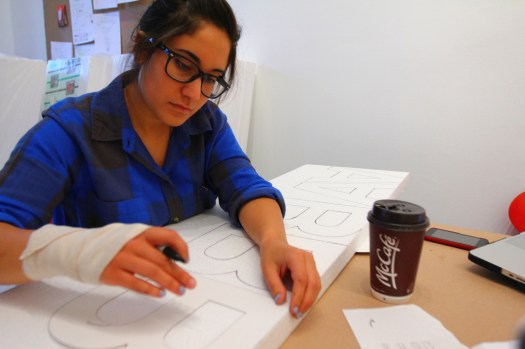 Monday at the space, making stamps, cutting letters (1)