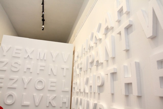 Styrofoam letters, white walls, night time guerilla art (12)