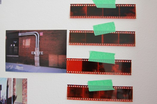 Exhibition design, photographs, tape, and negatives (4)