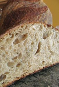 Crispy crust, large glossy holes, great flavor in sourdough