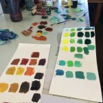 I mix new paints to see what colors I can make. Color mixing feels like DEVELOPING CRAFT to me - I am always learning new things.