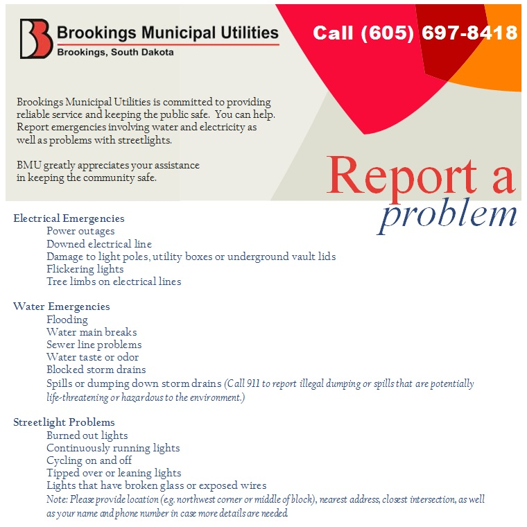 Report a Problem « Brookings Municipal Utilities - problem report