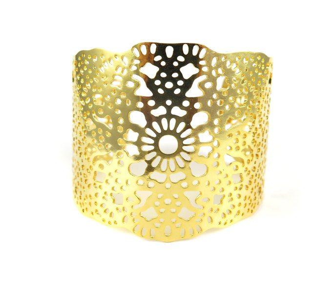 Gold Plated Geometric Design Cuff \u2013 (1x) (K705) Brooklyn Charm