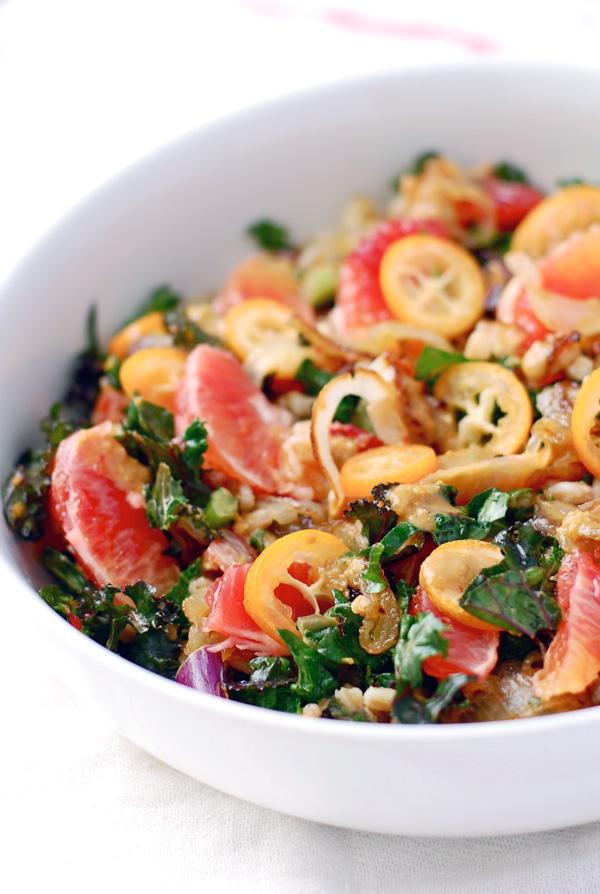 farro salad with blood orange, kumquat & kale // brooklyn supper