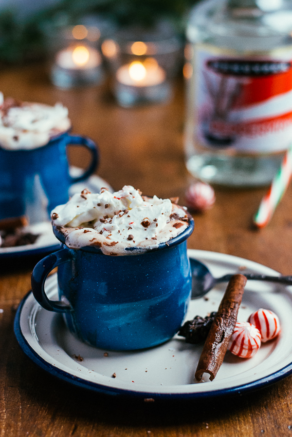 spiced bittersweet hot chocolate with peppermint schnapps // brooklyn supper