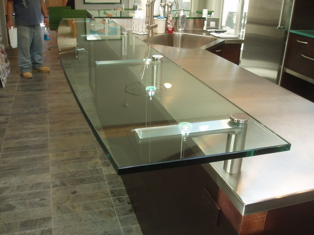 Clear Glass Countertop With Custom Stainless Steel