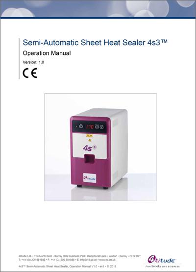 4s3™ Semi-Automatic Sheet Heat Sealer Operation Manual Brooks Life