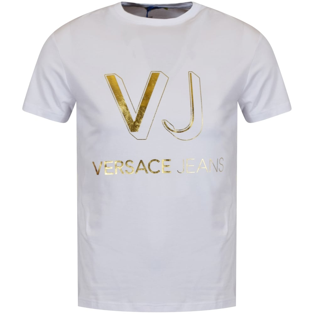 T shirt design jquery - T Shirt Design Jquery Versace Jeans White Gold Printed Logo T Shirt Download