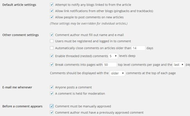 WordPress Comment setting
