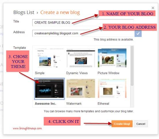 Create BlogSpot Blog