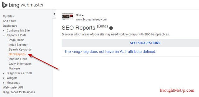 seo reports in Bing Webmaster Tools