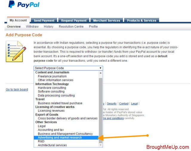 add purpose code for paypal account