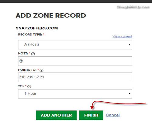 add a record to set up custom domain in blogger