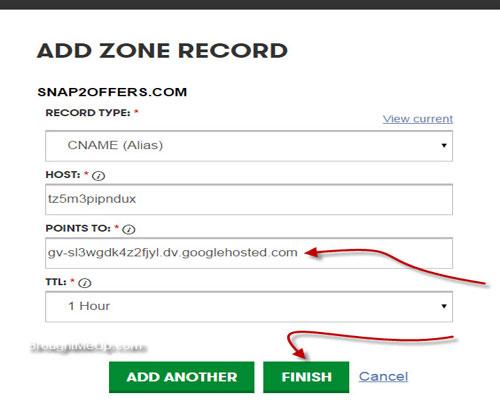 add cname to setup custom domain on blogger