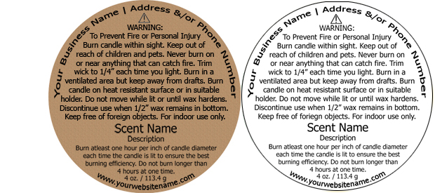 Candle Warning Labels customized with your information - ingredient label template