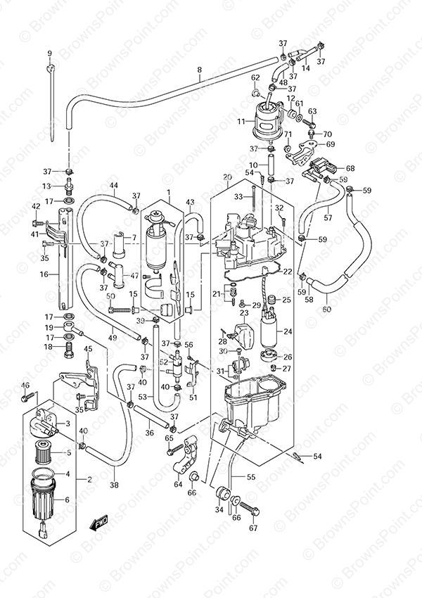 Fig 13A - Fuel Pump/Fuel Vapor Separator - Suzuki DF 250 Parts