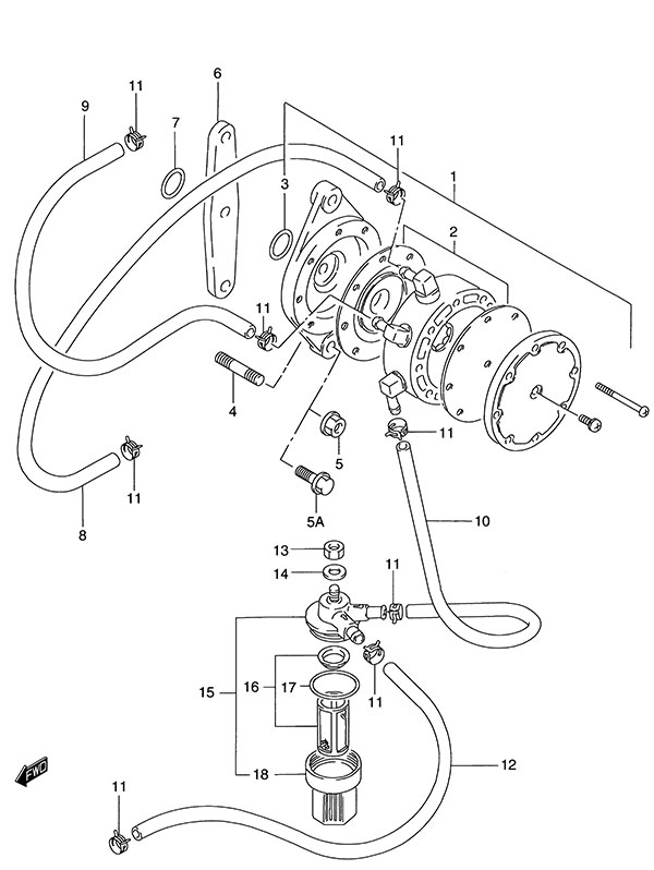 Fig 11 - Fuel Pump - Suzuki DT 140 Parts Listings - 1986 to 1994