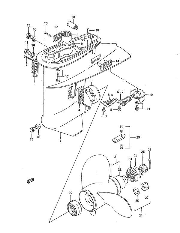 Fig 28 - Gear Case - Suzuki DT 40 Parts Listings - 1986 to 1998