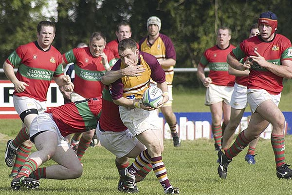Paul O' Brien with the ball in last years first round AIB Cup game against Clonakilty