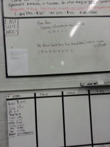 Crossfit WOD on the whiteboard