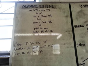 Olympic Lifting workout for July 10, 2013