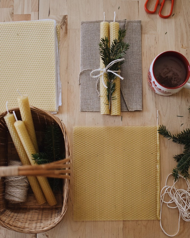 Hand rolled beeswax candles diy