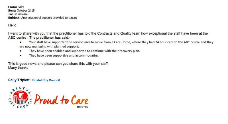Email thank you - for our ABC Centre team - Brunelcare