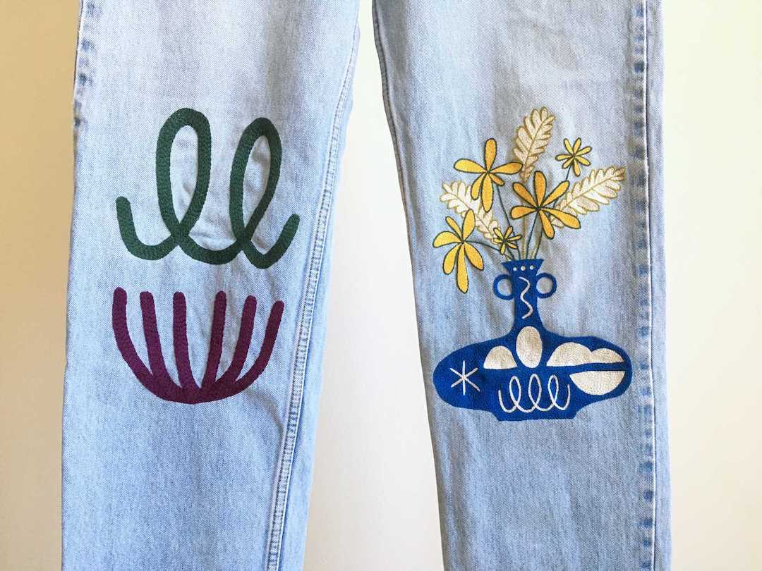 Hand Embroidered Jeans Fuse Contemporary Fashion With A