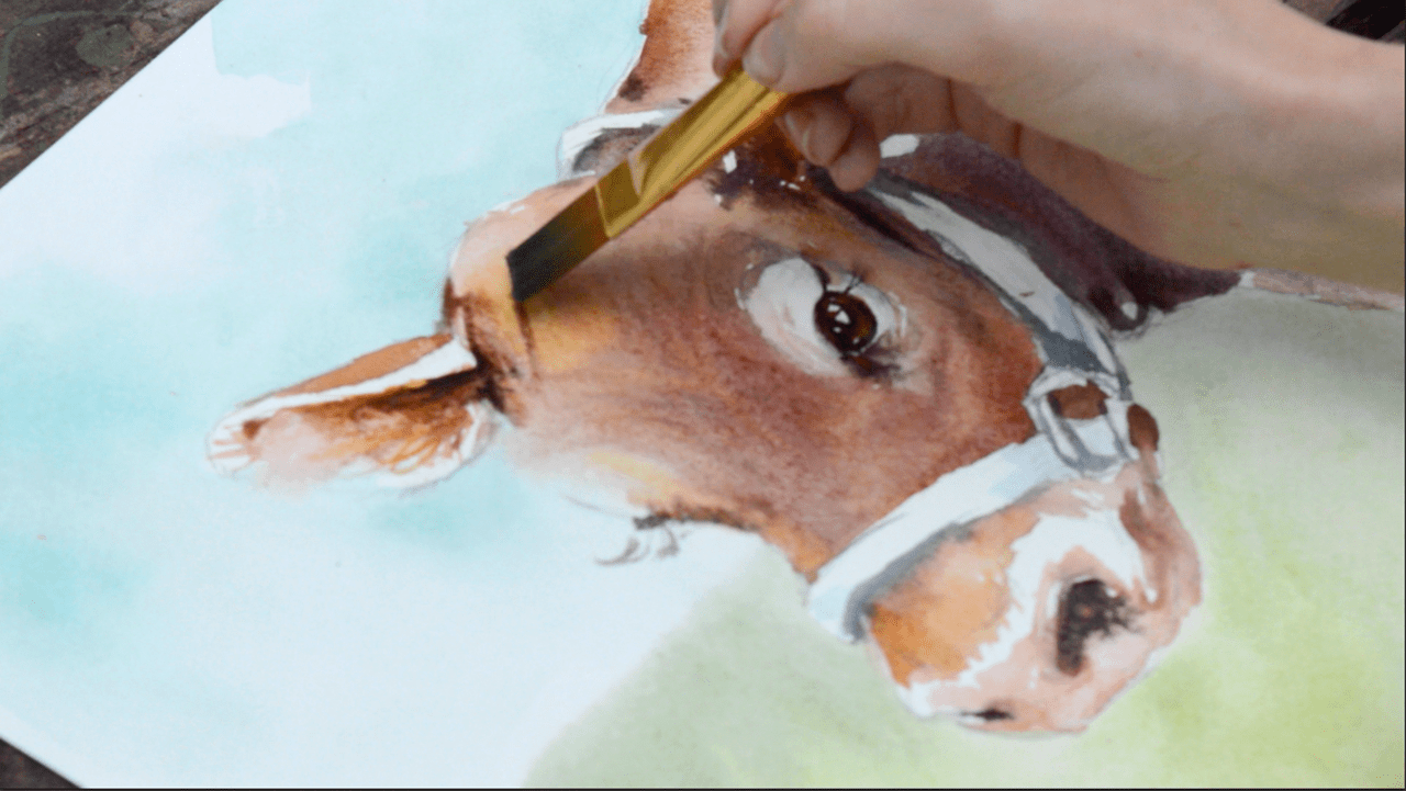 Inspired to Paint: Speed Painting Cow Watercolor Video