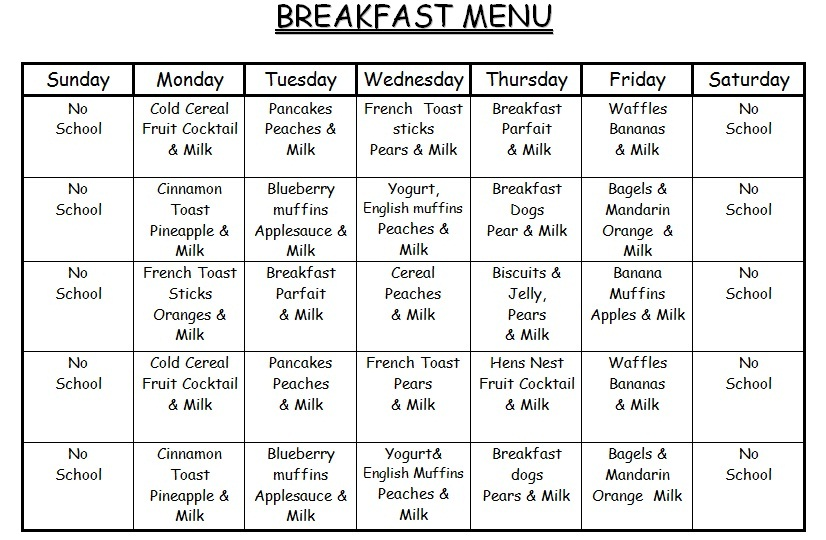 Monthly Menu Bryden Academy Learning  Daycare