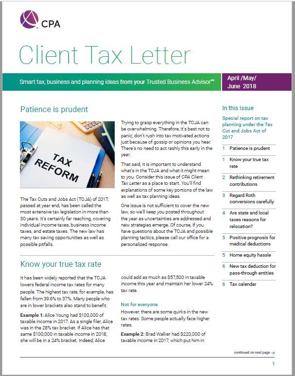 2nd Quarter 2018 Client Tax Letter - Balsamo, Stewart, Lutters  Ruth - letter to client