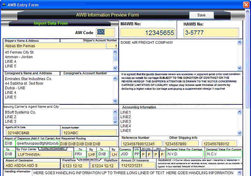 Air Waybill Printing Software