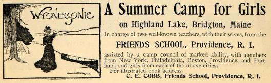 Wyonegonic Girls Camp, 1902 ad (copyright expired)